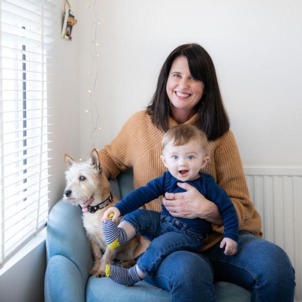 Clodagh O'Hagan with her son and Frank at their home in Dublin. Photograph: Naoise Culhane