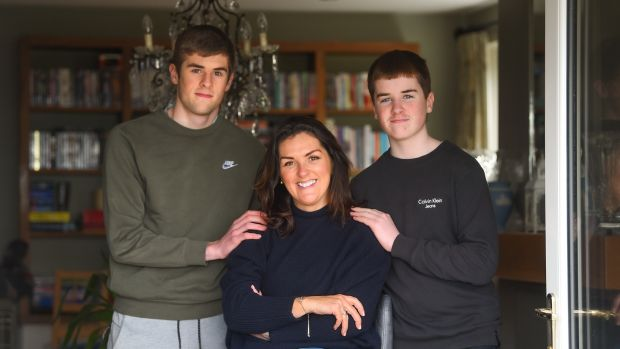 Olive Foley with her sons Tony (15) and Dan (12) at their home in Killaloe, Co Clare. Photograph: Diarmuid Greene