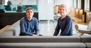 John Collison, president and co-founder of Stripe and Patrick Collison, chief executive officer and co-founder of Stripe. Photograph: David Paul Morris/Bloomberg via Getty Images