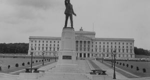 July 1935: Statue of Edward Carson (1854-1935), unionist leader and founder of the  Ulster Volunteer Force  at Stormont Castle, seat of the Northern Ireland Parliament. Photograph: Fox Photos/ Getty Images