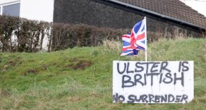 Loyalist sign  in  Larne,  Co Antrim protesting against the so-called Irish Sea border. Photograph: Stephen Davison