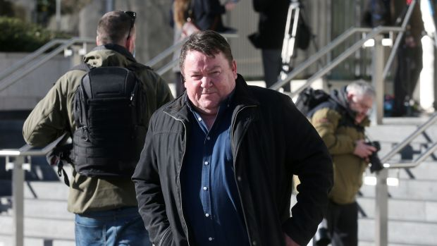 A survivor of John McClean's abuse, Damien Hetherington, leaves the Dublin Circuirt Criminal Court after McClean, a former rugby coach at Terenure College, was sentenced to eight years in jail. Photograph: Laura Hutton / The Irish Times