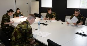 Defence Forces cadets undertake HSE training at Dr Steevens' Hospital for contact tracing for those affected by Covid-19.  Photograph: Alan Betson