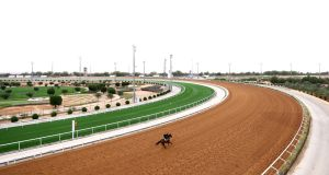 Track work ahead of the 2021 Saudi Cup  at the King Abdulaziz racecourse outside  Riyadh, Saudi Arabia. Photograph:  Francois Nel/Getty Images
