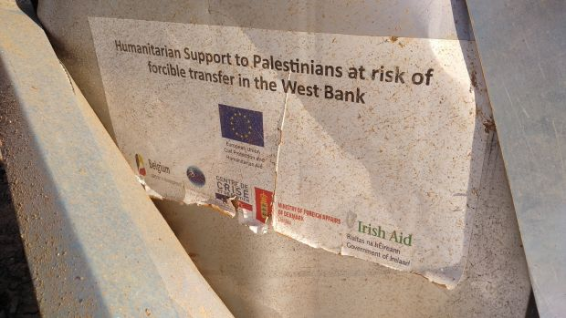 Labels of EU and Irish origin on aid destroyed by Israeli troops in Khirbet Humsah. Photograph: Sarit Michaeli/Btselem