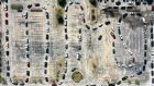 A drone view of cars lining up for  water distribution at the Fountain Life Center  in Houston, Texas, on Saturday. Photograph: Justin Sullivan/Getty