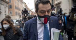 League party Matteo Salvini, the one-time poster child of anti-euro populism, has enthusiastically embraced a new Italian government led by Mario Draghi. Photograph:  Antonio Masiello/Getty Images