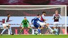 Leicester City's James Maddison scores the opening goal at Villa Park. Photograph: PA