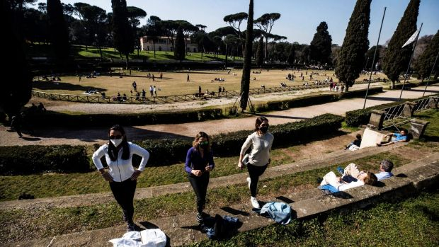 People take exercise in the Villa Borghese park, in Rome, Italy, as Covid-19 restrictions continue. Photograph: Angelo Carconi/EPA