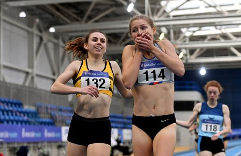 PERSONAL BEST: Georgie Hartigan (centre), of Dundrum South Dublin Athletic Club, wins the women's 800m with a personal best of 2:01.48, ahead of Louise Shanahan (left) of Leevale Athletic Club, Cork, at the Irish Life Health Elite Athlete Indoor Micro Meet. Photograph: Sam Barnes/Sportsfile