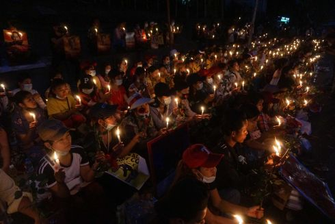 CANDLELIGHT VIGIL: Protesters hold a candlelight vigil outside the US embassy in Yangon, Myanmar, during a demonstration against the country's military coup. Photograph: Sai Aung Main/AFP via Getty