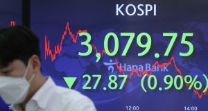In Asia, China's CSI 300 index fell 3.1 per cent, its biggest one-day drop since last summer. Hong Kong's Hang Seng lost 1.1 per cent and South Korea's Kospi 200 dropped 1 per cent.