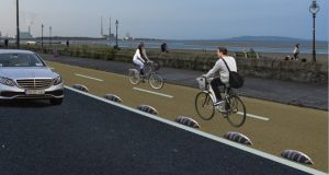 A mock-up of the proposed Strand Road cycle path. Image via Dublin City Council