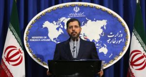 "Iranian foreign ministry spokesman Saied Khatibzadeh  in Tehran on Monday. Iran hailed as a ""significant achievement"" a temporary agreement Tehran reached with the head of the  nuclear watchdog IAEA on site inspections.  Photograph: Getty Images"