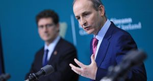 Taoiseach Micheal Martin during a joint press conference at Government Buildings in Dublin. Photograph: Julien Behal Photography/PA Wire