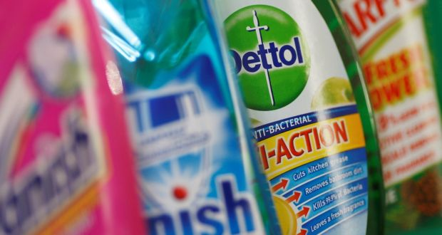 Reckitt Benckiser on Wednesday reported the highest full-year sales growth in its history as the Covid-19 hygiene boom led to surging sales for its Dettol and Lysol disinfectants. Photograph: Stephen Hird/Reuters