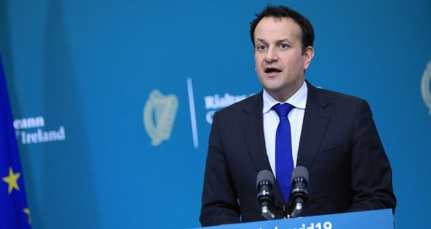 Tánaiste Leo Varadkar speaks during a joint press conference at Government Buildings in Dublin. Photograph: Julien Behal Photography/PA Wire