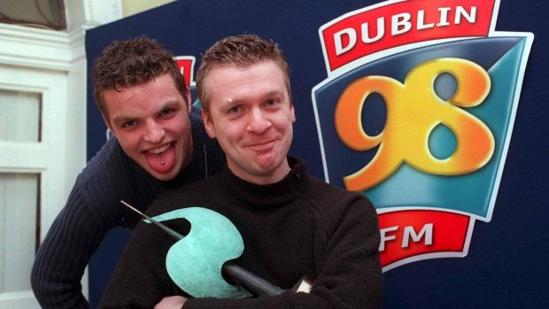 It all began with 98FM. Pictured are Alan Kelly of Owens DDB celebrating winning a 98FM Creative Radio Award in 2000, and Adam Roche.