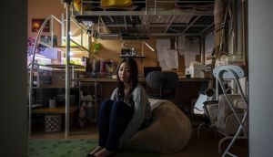 Nazuna Hashimoto at her home in Osaka, Japan. Having survived her own suicide attempt, Hashimoto hopes to train as a therapist, with a special focus on women. Photograph: Hiroko Masuike/New York Times