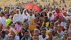 Ethiopian refugees gather to celebrate the 46th anniversary of the Tigray People's Liberation Front at Um Raquba refugee camp in Gedaref, eastern Sudan, on February 19th.  Photograph: Hussein Ery/AFP via Getty Images