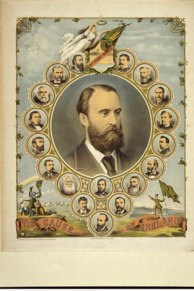 The cause of Ireland: Charles Stewart Parnell encircled by 18 smaller portraits of men prominent in Irish politics and government. Photograph: Thomas B. Noonan & Co / Library of Congress.