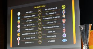The draw was made for the last-16 of the Europa League on Friday. Photo: Harold Cunningham/AFP via Getty Images