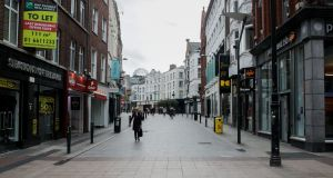 Retail sales in December were 10.4 per cent higher than in February.  Grafton Street in Dublin city centre during February 2021 lockdown. File photograph: Gareth Chaney/Collins