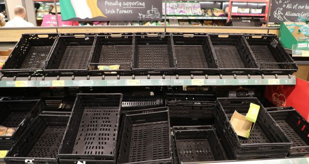 Empty shelves in the Aldi shop in Blackrock, Dublin on March 11th, 2020. Photograph: Nick Bradshaw