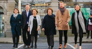 Social Democrats TDs Jennifer Whitmore, Cian O Callaghan, Catherine Murphy, Róisn Shortall, Gary Gannon and Holly Cairns outside  Leinster House. Photograph: Gareth Chaney/Collins