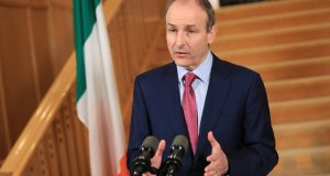 Taoiseach Micheál Martin at Government Buildings on Tuesday, when he addressed the nation and held a press conference afterwards. Photograph: Julien Behal Photography/PA Wire