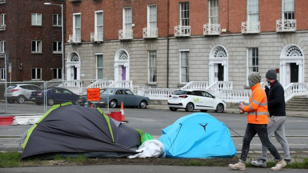 Tents pitched by the Grand Canal in Dublin         earlier this month. Photograph: Laura Hutton/ The Irish Times
