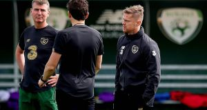 Republic of Ireland manager Stephen Kenny with assistant coaches Keith Andrews and Damien Duff during squad training at  FAI HQ in Abbotstown  in August 2020. Photograph: Ryan Byrne/Inpho