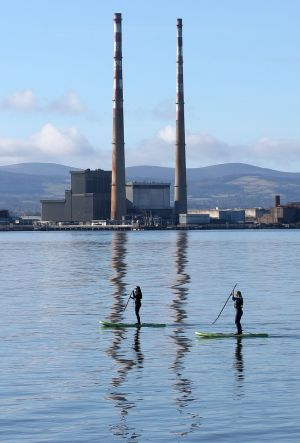 STAND-UP ACT: Stand-up paddleboarders in Dublin Bay on Friday morning. Photograph: Laura Hutton/The Irish Times