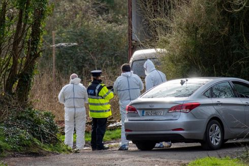 CORK INVESTIGATION: Garda forensics team fly a drone near the farm outside Kildorrery, Co Cork, where the bodies of two brothers in their 60s had been discovered and the body of a third man was found in a river nearby on Friday. Photograph: Daragh Mc Sweeney/Provision