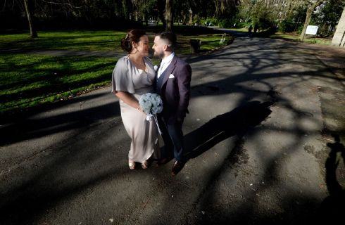 JUST MARRIED: Siobhan and Paul Makim from Leixlip, Co Kildare, and Co Laois respectively, at St Stephen's Green in Dublin after their wedding. Photograph: Alan Betson/The Irish Times