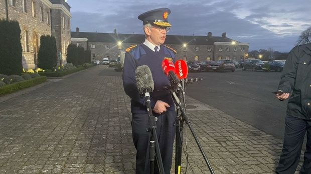 Garda Commissioner Drew Harris at a briefing outside Garda headquarters at the Phoenix Park on Saturday night. Photograph: Ronan McGreevy