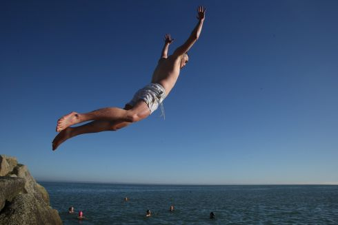 Louis Maxwell at the forty foot swimming spot in Sandycove, Dublin, on Sunday morning. 