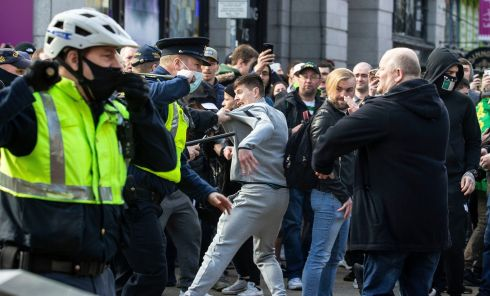 Protesters clash with gardaí during an anti-lockdown protest in Dublin city centre. Photograph: Damian Eagers/PA Wire