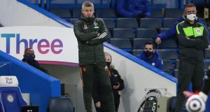 Manchester United manager Ole Gunnar Solskjaer watches his team draw at Stamford Bridge. Photograph: EPA