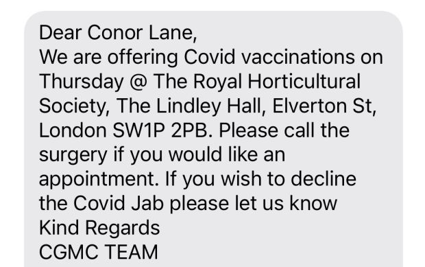 Covid jab: my invitation to be vaccinated