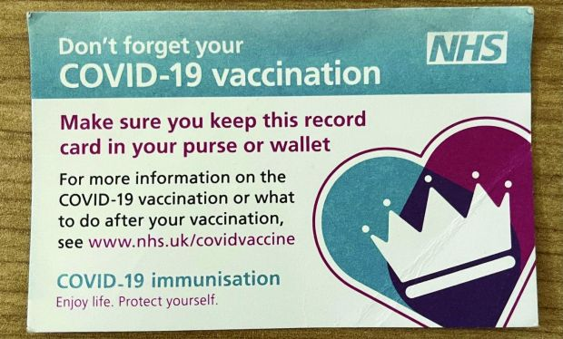 Covid jab: the nurse gave me a small NHS vaccination card to keep