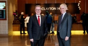 Dalata Hotel Group chief executive Pat McCann with chief executive designate Dermot Crowley.