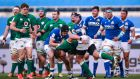 Action from the Stadio Olimpico. CJ Stander – to his eternal if misguided credit – keeps charging into brick walls for one- or two-metre gains.   Photograph: Tommy Dickson/Inpho