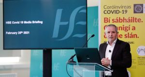 HSE chief executive Paul Reid said infections among the most vulnerable and healthcare workers were hugely decreasing. Photograph: Leon Farrell/Photocall Ireland
