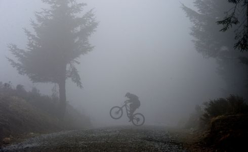 WHEELIE: Tané O'Halloran from Rathfarnham enjoying one of the many mountain bike trails in Ticknock forest, during misty weather. Photograph: Alan Betson/The Irish Times