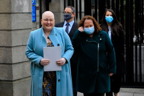 APOLOGY: Eileen Rushe (left) with her mother Mary Rushe at the Four Courts, Dublin. Louth County Hospital has offered 'heartfelt apologies' to Eileen Rushe, who has terminal cervical cancer, for failings in her care after she was referred to it for treatment following a smear test. Photograph: Gareth Chaney/Collins