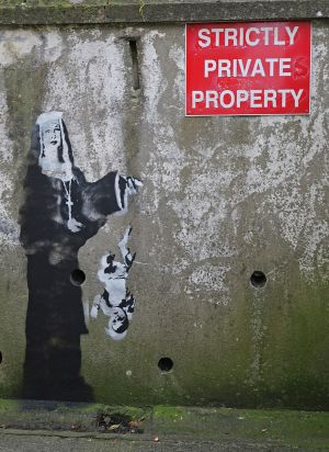 CONVENT: A Banksy-like image has appeared overnight on the wall of the former St Clares convent in Cavan town. The building, formerly an orphanage was the scene of a fire on February 23rd, 1943 in which 35 children and one adult lost their lives. No permanent memorial has been made to commerate the deaths. Photograph: Lorraine Teevan