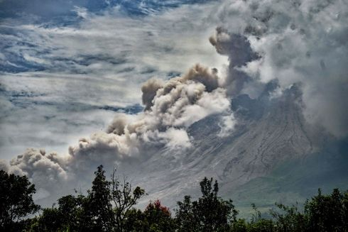 ERUPTION: Mount Sinabung spews ash during its eruption as seen from Namanteran village in Karo, North Sumatra on March 3rd. Photograph: Hendra Syamhari/AFP via Getty