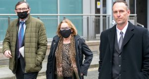 Padraig Creaven (right), of Menlo, Galway, widower of Aoife Mitchell Creaven, leaving the High Court on Wednesday with Aoife's parents, Gabriel (left) and Marcella (centre) Mitchell. Photograph: Collins Courts