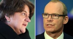 DUP First Minister Arlene Foster reacted angrily to remarks by Fine Gael Minister for Foreign Affairs Simon Coveney.